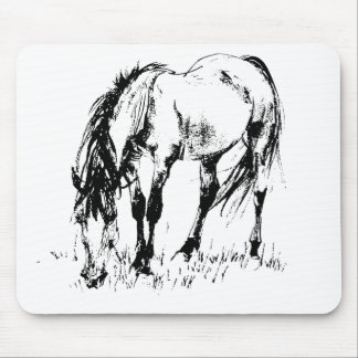 Grazing Horse Illustration Mouse Pad