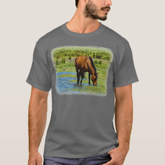 Grazing Horse Picture T-shirt