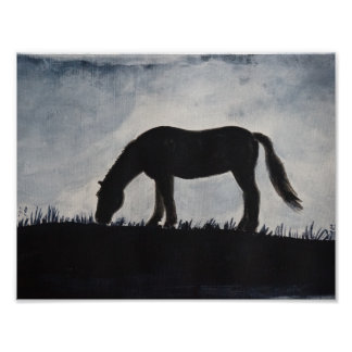 Grazing Horse Silhouette Painting Poster