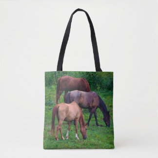 Grazing Horses all over tote bag and crossbody