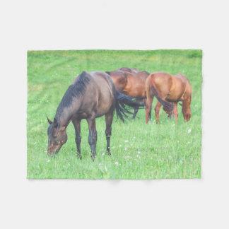 Grazing Horses Animals Equine Fleece Blanket