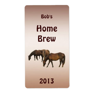 Grazing Horses Beer Label Shipping Label