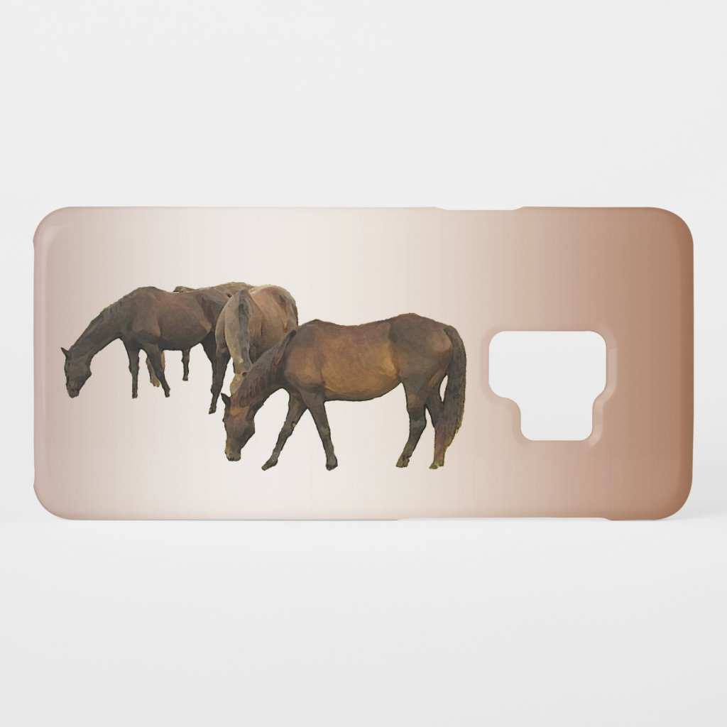Grazing Horses Brown Galaxy S9 Case