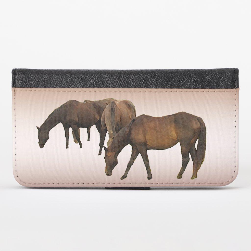 Grazing Horses Brown iPhone X Wallet Case