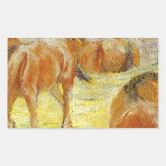 Grazing Horses by Franz Marc Rectangular Sticker