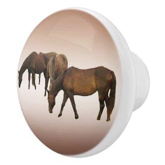 Grazing Horses Ceramic Knob
