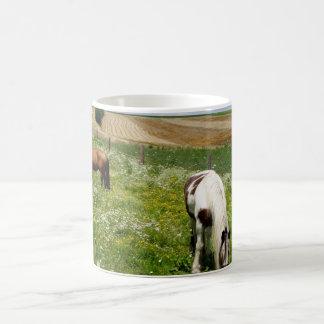 Grazing horses coffee mug