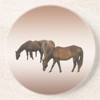 Grazing Horses Drink Coaster