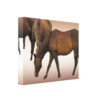 Grazing Horses Gallery Wrap Canvas