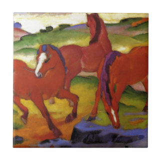 Grazing Horses IV (The Red Horses) by Franz Marc Ceramic Tile