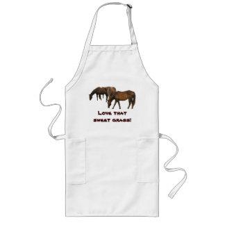 Grazing Horses Long Apron