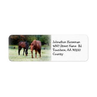 Grazing Horses on Field Label