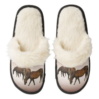 Grazing Horses Pair of Fuzzy Slippers