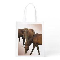 Grazing Horses Reusable Grocery Bag