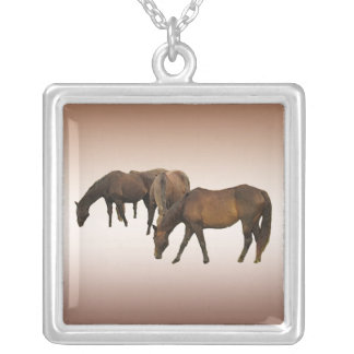 Grazing Horses Silver Plated Necklace