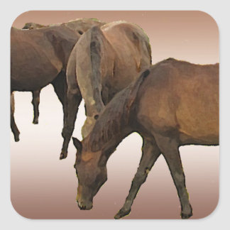 Grazing Horses Square Sticker