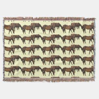 Grazing Horses Throw Blanket