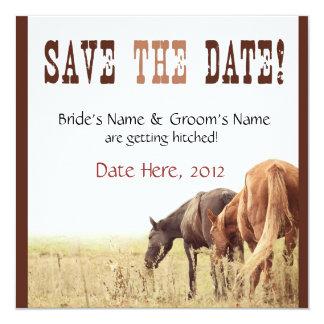 """Grazing Horses - Wedding Invite 5.25"""" Square Invitation Card"""