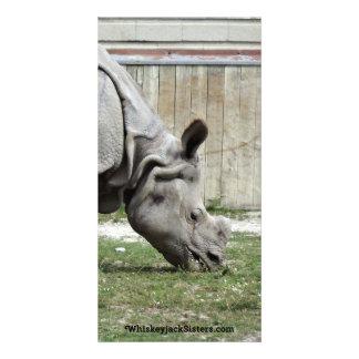 Grazing Indian Rhino Photo Greeting Card