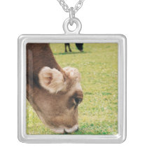 Grazing Jersey Cow Silver Plated Necklace