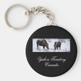 Grazing Moose; Yukon Territory, Canada Basic Round Button Keychain