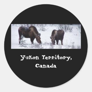 Grazing Moose; Yukon Territory, Canada Classic Round Sticker