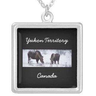 Grazing Moose; Yukon Territory, Canada Square Pendant Necklace