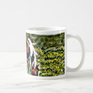 Grazing Paint Horse with yellow flowers Classic White Coffee Mug