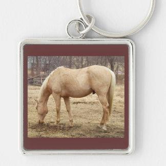 Grazing Palomino Horse Keychain