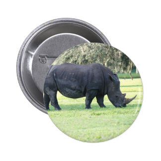 Grazing Rhino Button