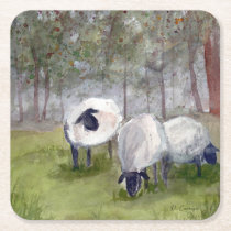 Grazing Sheep Square Paper Coaster