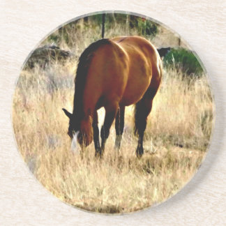 Grazing Sorrel Horse Coaster