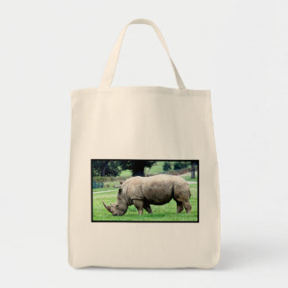 Grazing White Rhino  Grocery Tote  Canvas Bags