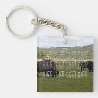 Grazing Wood Bison; 2013 Calendar Keychain