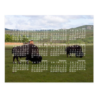 Grazing Wood Bison; 2013 Calendar Postcard