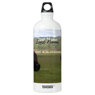 Grazing Wood Bison; Customizable Aluminum Water Bottle