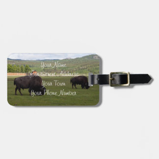 Grazing Wood Bison; Customizable Bag Tag