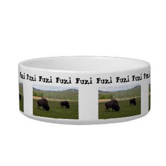 Grazing Wood Bison; Customizable Bowl