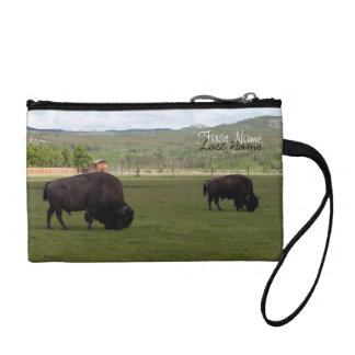 Grazing Wood Bison; Customizable Change Purse