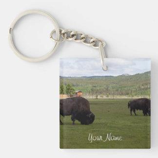 Grazing Wood Bison; Customizable Keychain
