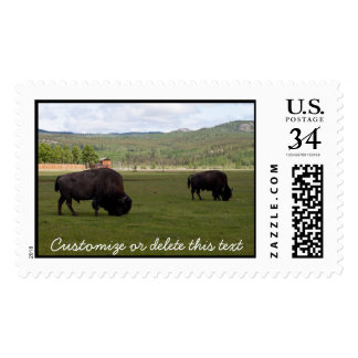 Grazing Wood Bison; Customizable Postage