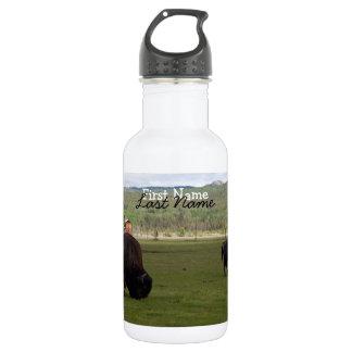 Grazing Wood Bison; Customizable Water Bottle