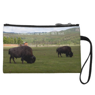 Grazing Wood Bison; Customizable Wristlet Wallet