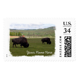 Grazing Wood Bison Postage