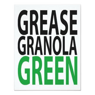 grease, granola, GREEN! 4.25x5.5 Paper Invitation Card