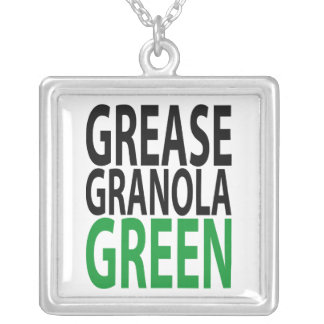 grease, granola, GREEN! Silver Plated Necklace