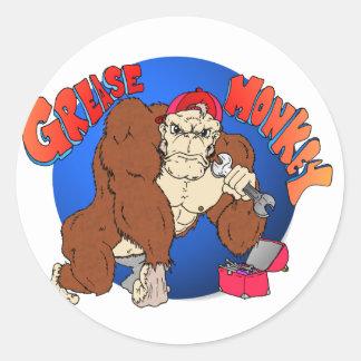 Grease Monkey Classic Round Sticker