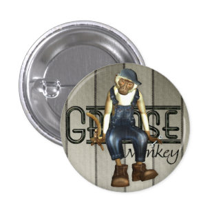 Grease Monkey Mechanics Pin-Back Badge 1 Inch Round Button