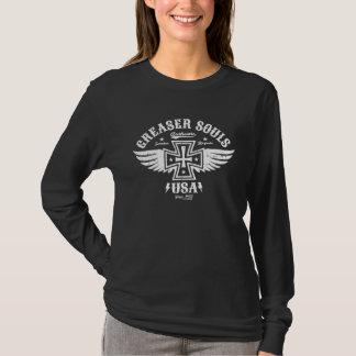 Greaser Biker Chick Iron Cross & Wings T-Shirt