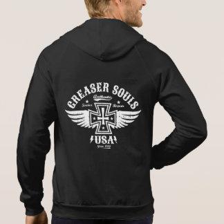 Greaser Biker Iron Cross & Wings Emblem Hoodie